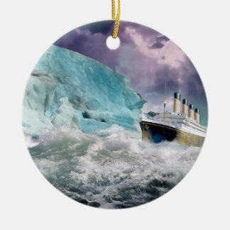 RMS Titanic and Iceberg Painting Double-Sided Ceramic Round Christmas Ornament