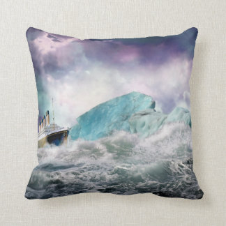 RMS Titanic and Iceberg Painting Pillow