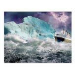 RMS Titanic and Iceberg Painting Postcard