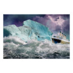 RMS Titanic and Iceberg Painting  Poster