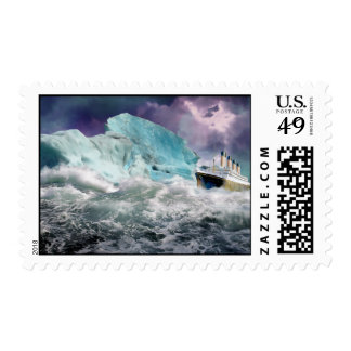 RMS Titanic and Iceberg Painting Stamp