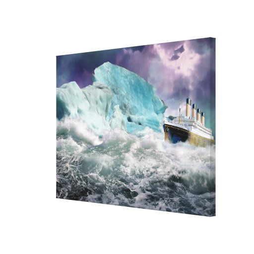 RMS Titanic and Iceberg Painting  Wrapped Canvas