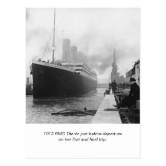 RMS Titanic before departure and poem Postcards