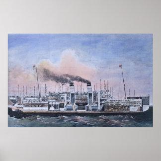 RMS Titanic Bisected Illustration Vintage Poster
