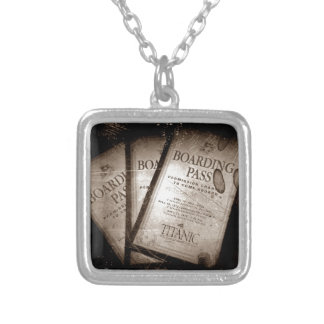 RMS Titanic Boarding Passes Silver Plated Necklace