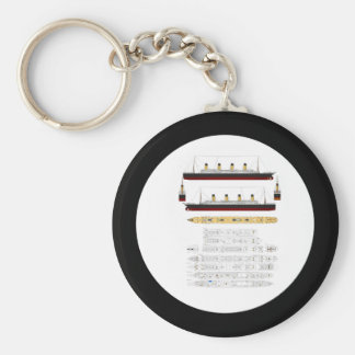 RMS Titanic Drawing and Diagram Keychain