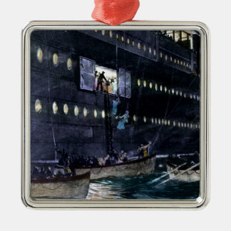 RMS Titanic Escape to the Lifeboats Quickly! Metal Ornament