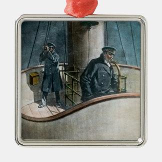 RMS Titanic Iceberg Ahead! Vintage Magic Lantern Metal Ornament