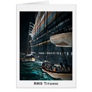 RMS Titanic Launching of the Lifeboats Vintage Card