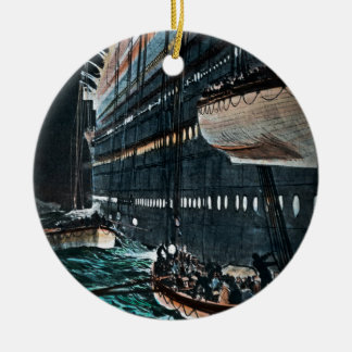 RMS Titanic Launching of the Lifeboats Vintage Ceramic Ornament