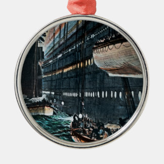 RMS Titanic Launching of the Lifeboats Vintage Metal Ornament