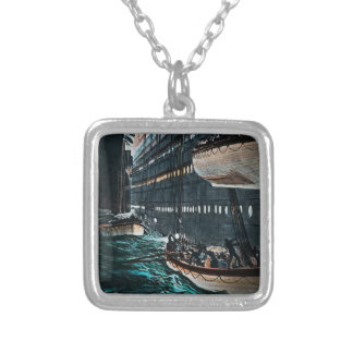 RMS Titanic Launching of the Lifeboats Vintage Square Pendant Necklace