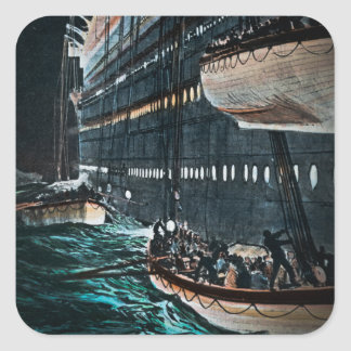 RMS Titanic Launching of the Lifeboats Vintage Square Sticker