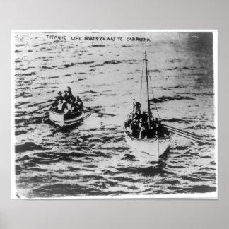 RMS Titanic - Life Boats on Way to RMS Carpathia Posters
