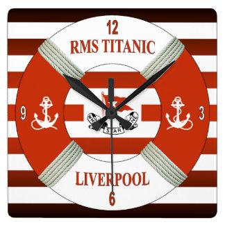 RMSTitanic~ Liverpool ~ Southampton ~ New York Square Wall Clock
