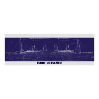 RMS Titanic Original Blueprint, Enhanced for Color Poster