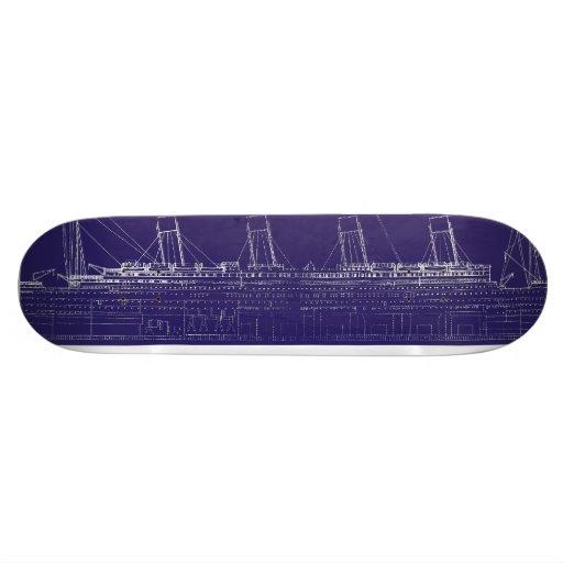 RMS Titanic Original Blueprint, Enhanced for Color Custom Skateboard