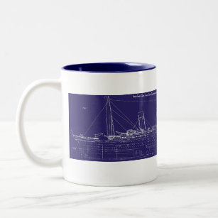 Blueprint coffee travel mugs zazzle rms titanic original blueprint enhanced for color two tone coffee mug malvernweather Images