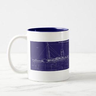 RMS Titanic Original Blueprint, Enhanced for Color Two-Tone Coffee Mug