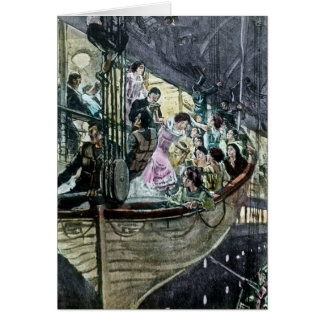 RMS Titanic Panic on Deck Rush for the Lifeboats Card