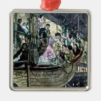 RMS Titanic Panic on Deck Rush for the Lifeboats Christmas Ornaments
