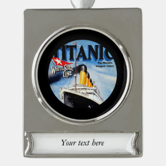 RMS Titanic Poster Art Silver Plated Banner Ornament