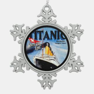 RMS Titanic Poster Art Snowflake Pewter Christmas Ornament