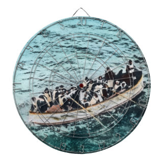 RMS Titanic Survivors in Lifeboats Vintage Dartboard