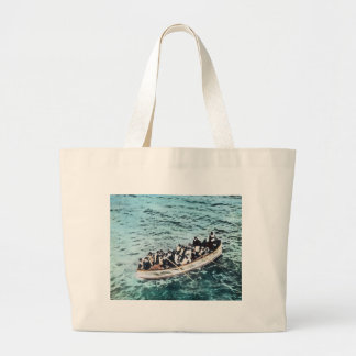 RMS Titanic Survivors in Lifeboats Vintage Large Tote Bag