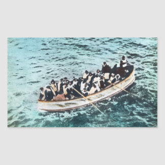 RMS Titanic Survivors in Lifeboats Vintage Rectangular Sticker
