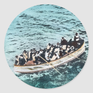RMS Titanic Survivors in Lifeboats Vintage Classic Round Sticker