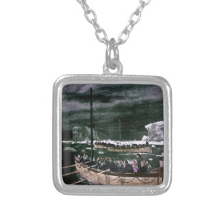 RMS Titanic Survivors in the Lifeboats Vintage Square Pendant Necklace
