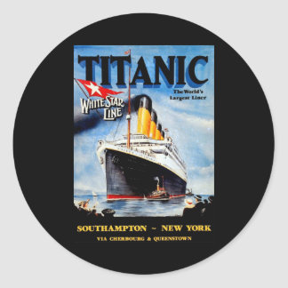 RMS Titanic Travel Ad Classic Round Sticker