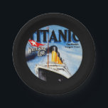 "RMS Titanic Travel Ad Paper Plate<br><div class=""desc"">Vintage artwork depicting the RMS Titanic leaving port.   The RMS Titanic was a British passenger ocean liner that sank in the North Atlantic after colliding with an iceberg.</div>"