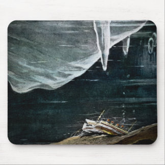 RMS Titanic Under the Sea and Icebergs Vintage Mouse Pad