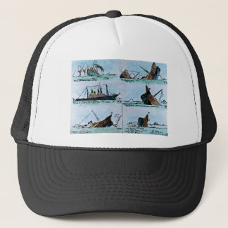 RMS Titanic Vintage Illustration of Sinking Trucker Hat