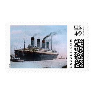 RMS Titanic Vintage Magic Lantern Slide 1912 Postage Stamp