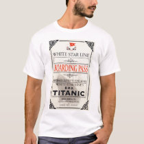 RMS Titanic White Star Line Boarding Pass T-Shirt