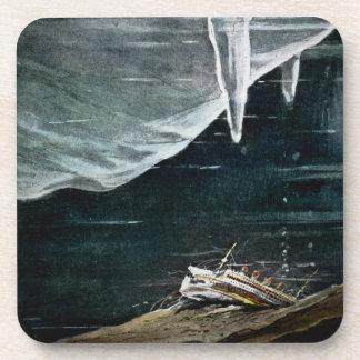 RMS titánico bajo el mar y vintage de los icebergs Posavasos De Bebidas