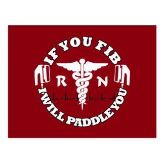 RN Afib Humor Paddle Shock Nurse Humor Postcard