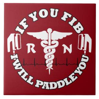 RN Afib Humor Paddle Shock Nurse Humor Tile