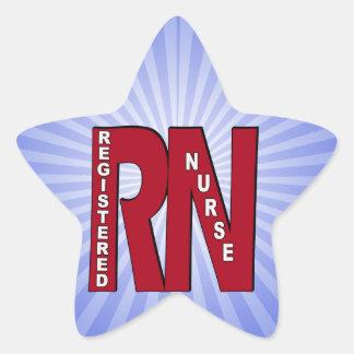 RN BIG RED REGISTERED NURSE STAR STICKER