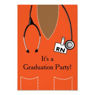 RN Black Nurse Graduation Invitation Scrub #32