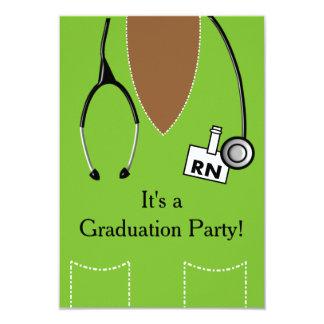 RN Black Nurse Graduation Invitation Scrub #37