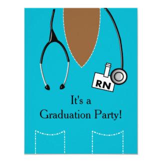 RN Black Nurse Graduation Invitation Scrub III