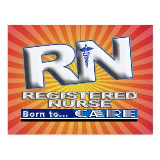 RN - BORN TO CARE MOTTO - REGISTERED NURSE POSTCARD