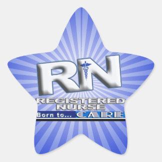 RN - BORN TO CARE MOTTO - REGISTERED NURSE STAR STICKER