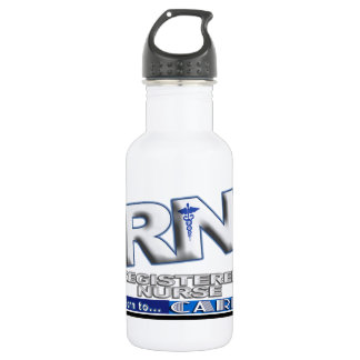 RN - BORN TO CARE MOTTO - REGISTERED NURSE WATER BOTTLE