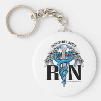 RN Caduceus Blue Keychain