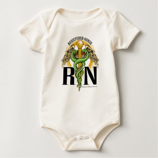 RN Caduceus Green Baby Creeper